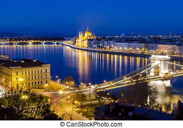 Budapest, night view on Danube, Parliament and Chain Bridge