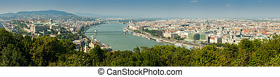 Panoramic aerial view of Pest and Erzsebet bridge from Gellert hill, Budapest, Hungary