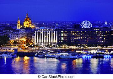Budapest panoramic view at blue hour, Hungary, Europe