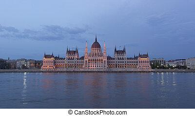 budapest, parlamento, tiro, noche