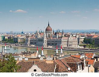 budapest, parlement, hongrois, national, fond, cityscape