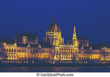 budapest, parlement, nuit, hongrois
