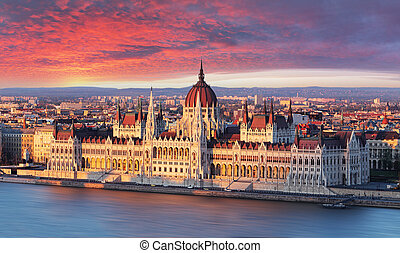Budapest parliament at dramatic sunrise