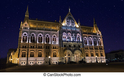 Budapest parliament at night side view