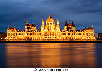 Budapest parliament at night with cloudy sky