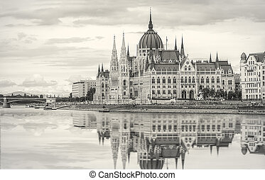 Parliament of Hungary in Budapest in the evening soft light. Toned photo.