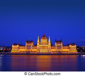 Budapest Parliament building at night. Hungary
