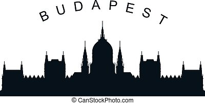 Budapest parliament silhouette - hungarian cityscape and landmark of Budapest