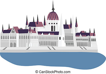 Parliament of Hungary, Budapest, vector illustration