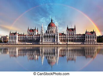budapest, -, parliament.with, reflexion, in, donau