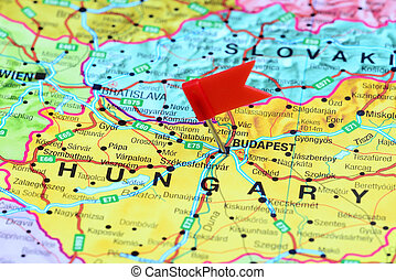 Budapest pinned on a map of europe - Photo of pinned...