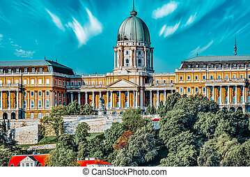 Budapest Royal Castle at day time. Fragments o? castle. Hungary.