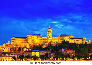Budapest Royal Castle at night time. Hungary