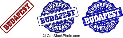 BUDAPEST grunge stamp seals in red and blue colors. Vector BUDAPEST overlays with draft style. Graphic elements are rounded rectangles, rosettes, circles and text labels.