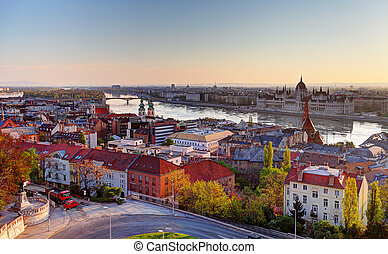 Budapest skyline at sunrise
