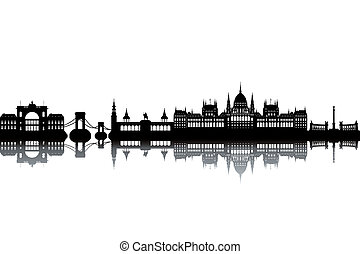 Budapest skyline - black and white vector illustration