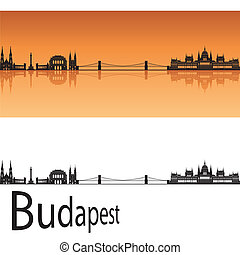 Budapest skyline in orange background in editable vector...