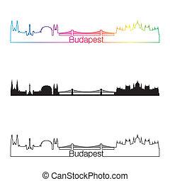 Budapest skyline linear style with rainbow in editable vector file