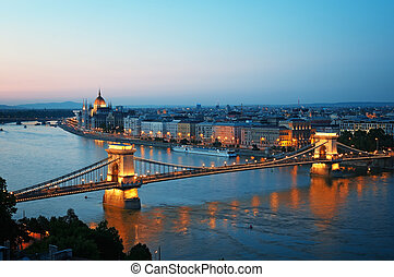 View of Chain Bridge, Hungarian Parliament and River Danube form Buda Castle.