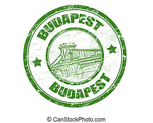 Green grunge rubber stamp with Chain bridge shape and the name of Budapest the capital of Hungary written inside