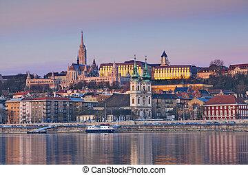 Budapest. - Image of Budapest skyline during spring sunrise.