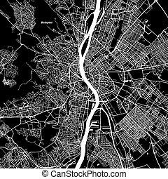 Budapest Vector Map, Artprint. Black Landmass, White Water...
