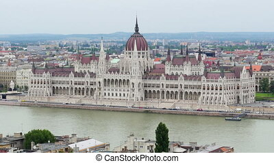 """Budapest View with Parliament Building and Danube River, Timelapse, 4k"""