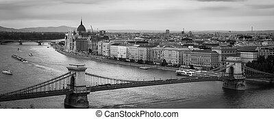 Budapest's Chain Bridge - Black and white scene of the Chain...
