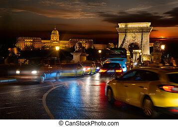 Budavari palace and Chain bridge in Budapest at beautiful sunset, Hungary