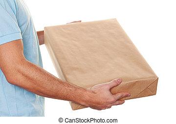 budbärare, av, budbärare, service, levererar, packe