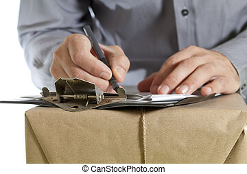 budbärare, leverera ett paket