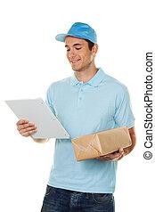 budbärare, levererar, post service, kolli