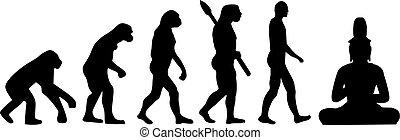 budda, seduta, evoluzione