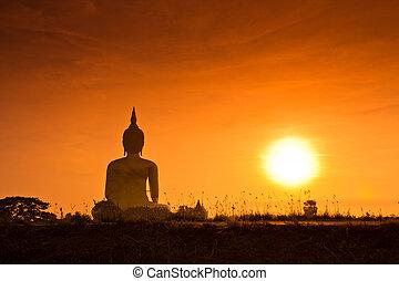 budda, statua, muang, tailandia, wat, grande