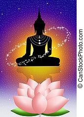 Buddha and lotus flower - illustration of Buddha and lotus...