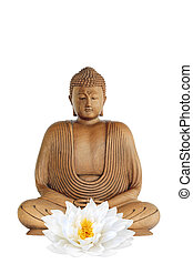 Buddha smiling with eyes closed in prayer and a white lotus lily flower, over white background.