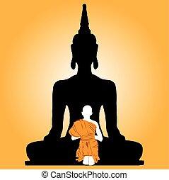 Buddha And Monk.