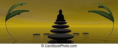 buddha and steps and plants
