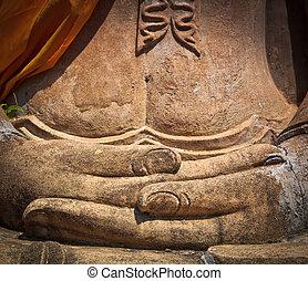 buddha, antigas, mão