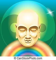 buddha, arco íris