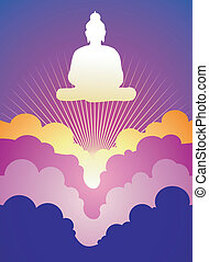 Buddha at sunrise - Buddha silhouette at sunrise on violet...