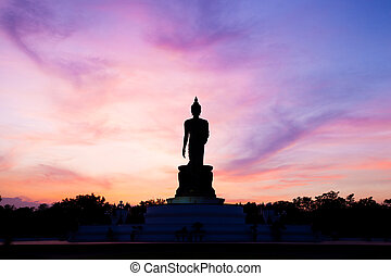 Buddha at sunset.