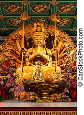 buddha, ausstellung, a, tausend, hände, statue, in, chinesisches , tempel, bangko