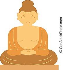 Buddha bangkok thailand religion statue buddhist asia meditation art flat vector illustration.