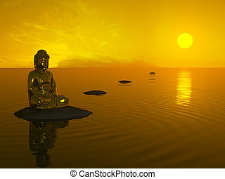 Buddha before sunset. - Golden Buddha sitting in calm water...
