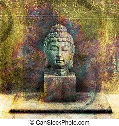 buddha, cabeza, meditar