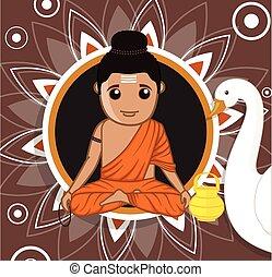 buddha, carácter, caricatura, gautam