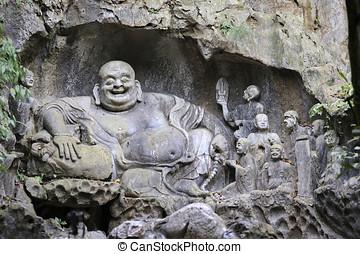 Buddha carving Hangzhou, China - Buddhist carvings in Feilai...