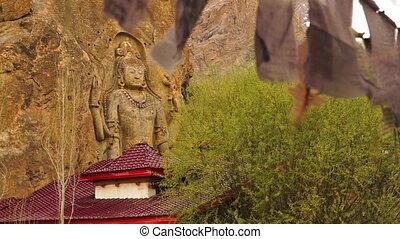 Buddha, Chamba Statue in Mulbekh, India - Close up low-angle...