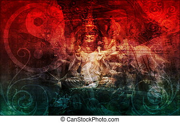 Buddha Chinese Abstract Background as a Wallpaper